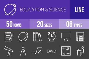 50 Education & Science Line Inverted Icons - Overview - IconBunny