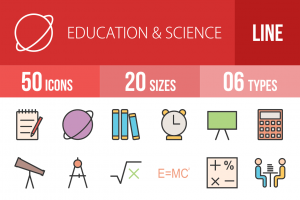 50 Education & Science Line Multicolor Filled Icons - Overview - IconBunny