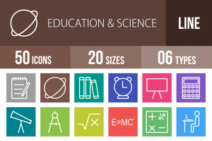 50 Education & Science Line Multicolor B/G Icons - Overview - IconBunny