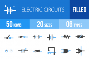 50 Electric Circuits Blue Black Icons - Overview - IconBunny