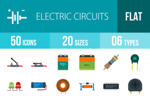 50 Electric Circuits Flat Multicolor Icons - Overview - IconBunny