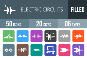 50 Electric Circuits Flat Round Corner Icons - Overview - IconBunny