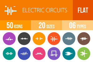 50 Electric Circuits Flat Round Icons - Overview - IconBunny