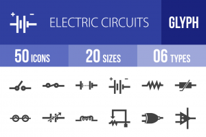 50 Electric Circuits Glyph Icons - Overview - IconBunny