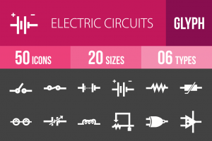50 Electric Circuits Glyph Inverted Icons - Overview - IconBunny