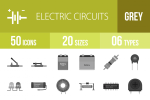 50 Electric Circuits Greyscale Icons - Overview - IconBunny