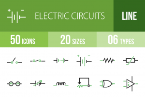 50 Electric Circuits Line Green Black Icons - Overview - IconBunny