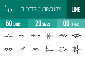 50 Electric Circuits Line Icons - Overview - IconBunny
