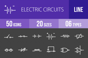 50 Electric Circuits Line Inverted Icons - Overview - IconBunny