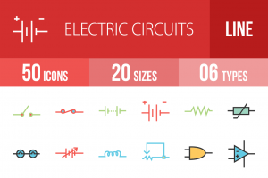 50 Electric Circuits Line Multicolor Filled Icons - Overview - IconBunny