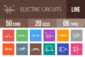 50 Electric Circuits Line Multicolor B/G Icons - Overview - IconBunny