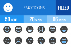 50 Emoticons Blue & Black Icons - Overview - IconBunny