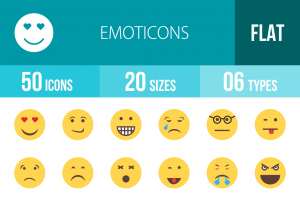 50 Emoticons Flat Multicolor Icons - Overview - IconBunny