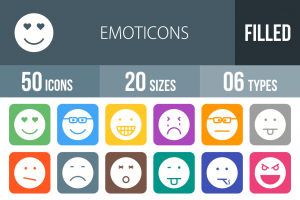 50 Emoticons Flat Round Corner Icons - Overview - IconBunny