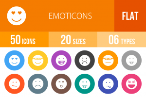 50 Emoticons Flat Round Icons - Overview - IconBunny