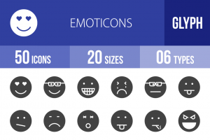 50 Emoticons Glyph Icons - Overview - IconBunny