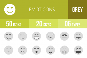 50 Emoticons Greyscale Icons - Overview - IconBunny