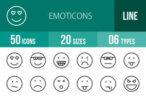 50 Emoticons Line Icons - Overview - IconBunny