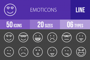 50 Emoticons Line Inverted Icons - Overview - IconBunny