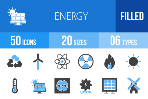 50 Energy Blue & Black Icons - Overview - IconBunny