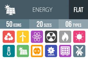 50 Energy Flat Round Corner Icons - Overview - IconBunny