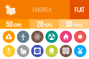 50 Energy Flat Round Icons - Overview - IconBunny