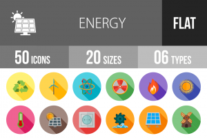 50 Energy Flat Shadowed Icons - Overview - IconBunny