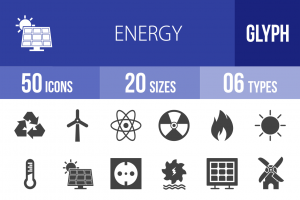 50 Energy Glyph Icons - Overview - IconBunny