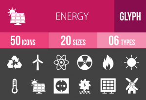50 Energy Glyph Inverted Icons - Overview - IconBunny