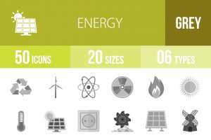 50 Energy Greyscale Icons - Overview - IconBunny