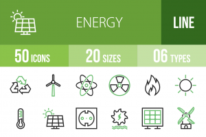 50 Energy Line Green & Black Icons - Overview - IconBunny