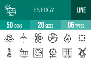 50 Energy Line Icons - Overview - IconBunny
