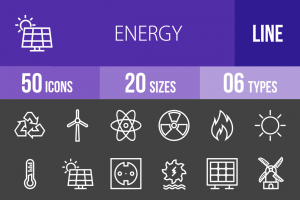 50 Energy Line Inverted Icons - Overview - IconBunny