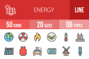50 Energy Line Multicolor Filled Icons - Overview - IconBunny