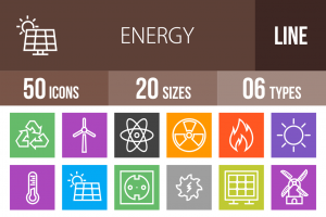 50 Energy Line Multicolor B/G Icons - Overview - IconBunny