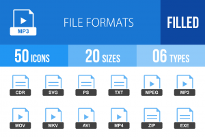 50 File Formats Blue & Black Icons - Overview - IconBunny