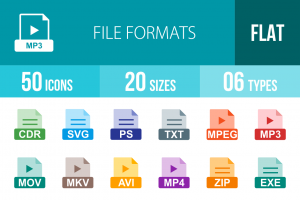 50 File Formats Flat Multicolor Icons - Overview - IconBunny