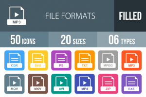 50 File Formats Flat Round Corner Icons - Overview - IconBunny