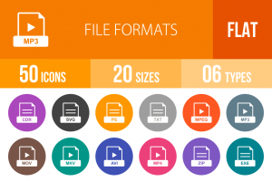50 File Formats Flat Round Icons - Overview - IconBunny