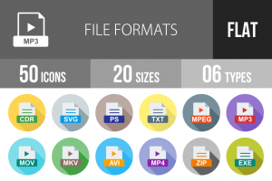 50 File Formats Flat Shadowed Icons - Overview - IconBunny