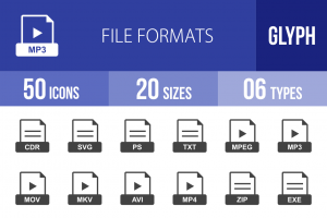 50 File Formats Glyph Icons - Overview - IconBunny