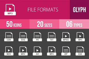 50 File Formats Glyph Inverted Icons - Overview - IconBunny