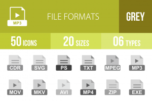 50 File Formats Greyscale Icons - Overview - IconBunny