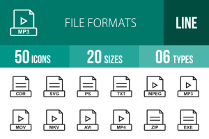 50 File Formats Line Icons - Overview - IconBunny