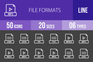 50 File Formats Line Inverted Icons - Overview - IconBunny