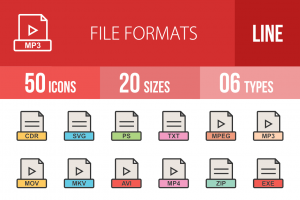 50 File Formats Line Multicolor Filled Icons - Overview - IconBunny