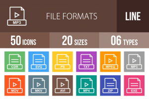 50 File Formats Line Multicolor B/G Icons - Overview - IconBunny