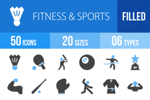50 Fitness & Sports Blue & Black Icons - Overview - IconBunny