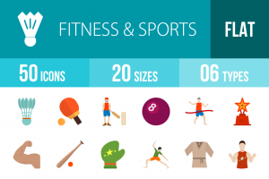 50 Fitness & Sports Flat Multicolor Icons - Overview - IconBunny