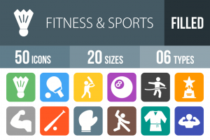 50 Fitness & Sports Flat Round Corner Icons - Overview - IconBunny